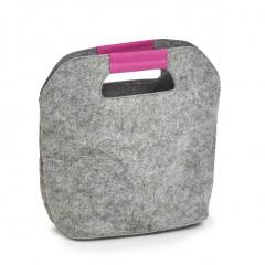 Zeller Kühltasche, Filz, grau/pink