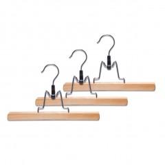 Zeller Hosenklemmbügel-Set, 3-tlg., Holz, natur