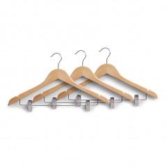 Zeller Kleiderbügel-Set m. Clips, 3-tlg., Holz, natur, 44,5 x 26 cm