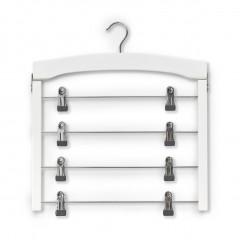 Zeller Mehrfach-Rockbügel, weiß, Buche/Metall verchromt, 39 x 43 cm