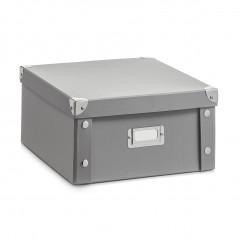 Zeller Aufbewahrungsbox, Pappe, grau, 31 x 26 x 14 cm