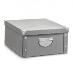 Zeller Aufbewahrungsbox, Pappe, grau, 40 x 33 x 17 cm