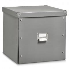 Zeller Aufbewahrungsbox, Pappe, grau, 33,5 x 33 x 32 cm