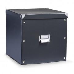Zeller Aufbewahrungsbox, Pappe, schwarz, 33,5 x 33 x 32 cm