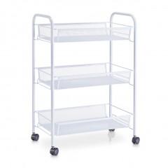 Zeller Etagen-Rollwagen, Mesh, weiß, Metall, 43,5 x 26 x 62,5 cm