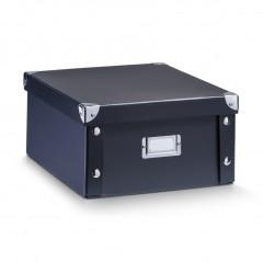 Zeller Aufbewahrungsbox, Pappe, schwarz, 31 x 26 x 14 cm