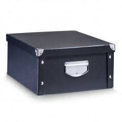 Zeller Aufbewahrungsbox, Pappe, schwarz, 40 x 33 x 17 cm