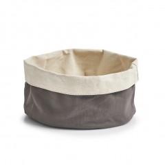 Zeller Brotbeutel, rund, Baumwolle, anthrazit/creme, Ø20 x 12 cm