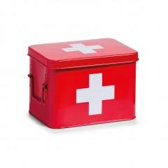 Zeller Medizinbox, Metall, rot, 21,5 x 16 x 16 cm