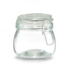 Zeller Vorratsglas m. Bügelverschluss, 500 ml, Glas/Edelstahl, transparent, 470 ml, Ø11 x 11 cm