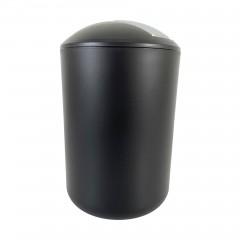 Kosmetikeimer mit Schwingdeckel, Badmülleimer bruchsicher Schwarz 6,5 Liter
