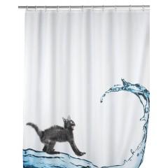 Wenko Anti-Schimmel Duschvorhang Cat, Polyester, 180 x 200 cm, waschbar