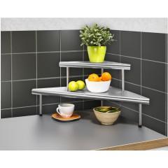 Küchen-Eckregal Massivo Duo mit 2 Ablagen, Edelstahl rostfrei
