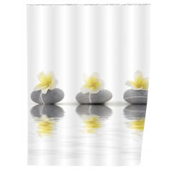 Wenko Duschvorhang Stones with Flower, 180 x 200 cm, waschbar