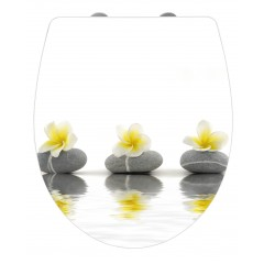 WC-Sitz Hochglanz Acryl Stones with Flower, Absenkautomatik, Fix-Clip Hygiene Befestigung