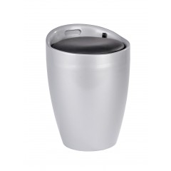 Wenko Hocker Candy Silver, Badhocker, mit abnehmbarem Wäschesack