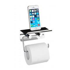 Wenko Toilettenpapierhalter mit Smartphone-Ablage, Edelstahl rostfrei