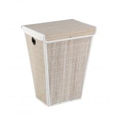 Wäschetruhe Bamboo Weiß, Wäschekorb, 55 l, konisch