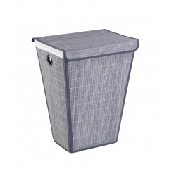 Wäschetruhe Bamboo Grau, Wäschekorb, 55 l, konisch