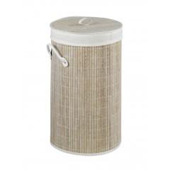 Wenko Wäschetruhe Bamboo Weiß, Wäschekorb, 55 l