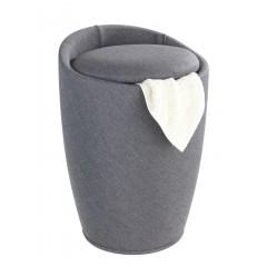 Wenko Hocker Candy Grey Leinenoptik, Badhocker, mit abnehmbarem Wäschesack