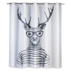 Wenko Anti-Schimmel Duschvorhang Mr. Deer Flex, Polyester, 180 x 200 cm, waschbar