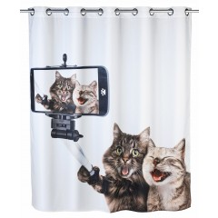 Wenko Anti-Schimmel Duschvorhang Selfie Cat Flex, Polyester, 180 x 200 cm, waschbar