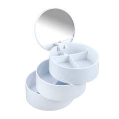Wenko Kosmetik Tower Weiß, mit drehbaren 3 Fächern und Spiegel