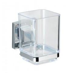 Wenko Vacuum-Loc® Zahnputzbecher Quadro, Edelstahl, Befestigen ohne bohren