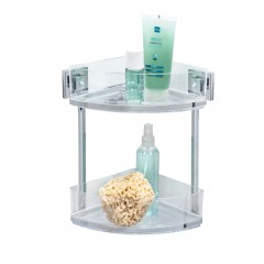 Wenko Vacuum-Loc® Eckregal 2 Etagen Quadro, Edelstahl, Befestigen ohne bohren