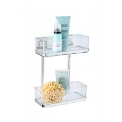 Wenko Vacuum-Loc® Wandregal 2 Etagen Quadro, Edelstahl, Befestigen ohne bohren