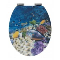 WC-Sitz Fish mit 3D-Effekt, MDF, mit Absenkautomatik