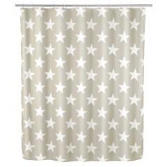 Anti-Schimmel Duschvorhang Stella Taupe, Polyester, 180 x 200 cm, waschbar