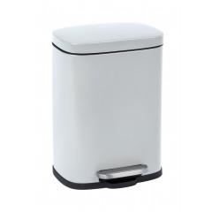Treteimer Leno Easy-Close Weiß, lackierter Stahl, Absenkautomatik, 5 Liter