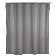 Wenko Duschvorhang Uni Grau, Polyester, 240 x 180 cm, waschbar