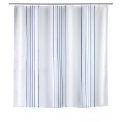 Wenko Duschvorhang Linen Blue, Polyester, 180 x 200 cm, waschbar