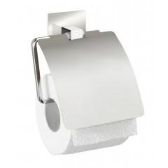 Wenko Turbo-Loc® Edelstahl Toilettenpapierhalter mit Deckel Quadro, rostfrei, Befestigen ohne bohren