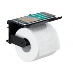 Wenko Toilettenpapierhalter mit Ablage Classic Plus Black, mit hochwertigem Rostschutz