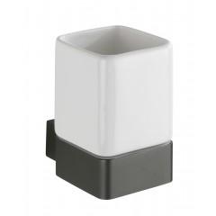 Wenko Zahnputzbecher Montella, Aluminium & Keramik, Wandmontage