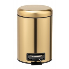 Wenko Kosmetik Treteimer Leman Gold matt, Edelstahl, 3 Liter