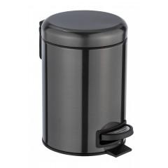 Wenko Kosmetik Treteimer Leman Metallic-Schwarz, Edelstahl, 3 Liter
