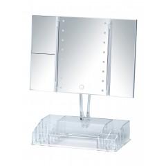 Wenko LED-Standspiegel mit Organizer Fanano, Leuchtspiegel