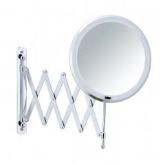 Wenko LED Teleskop-Wandspiegel Barona, Kosmetikspiegel, Leuchtspiegel