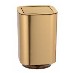 Wenko Schwingdeckeleimer Auron Gold, Kosmetikeimer mit Schwingdeckel, 5,5 l
