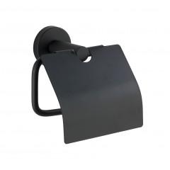 Wenko Toilettenpapierhalter Bosio Black matt mit Deckel, Edelstahl rostfrei