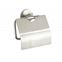 Wenko Toilettenpapierhalter mit Deckel Cuba Matt, WC-Rollenhalter aus rostfreiem Zinkdruckguss