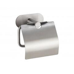 Wenko Turbo-Loc® Edelstahl Toilettenpapierhalter mit Deckel Orea Matt, WC-Rollenhalter aus rostfreiem Edelstahl