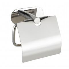 Wenko Turbo-Loc® Edelstahl Toilettenpapierhalter mit Deckel Orea Shine, WC-Rollenhalter aus rostfreiem Edelstahl