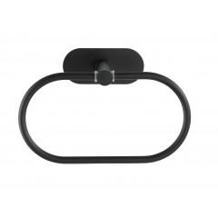 Wenko Turbo-Loc® Edelstahl Handtuchring Orea Black Matt, Handtuchhalter aus rostfreiem Edelstahl