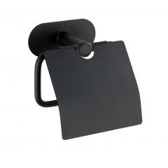 Wenko Turbo-Loc® Edelstahl Toilettenpapierhalter mit Deckel Orea Black Matt, WC-Rollenhalter aus rostfreiem Edelstahl